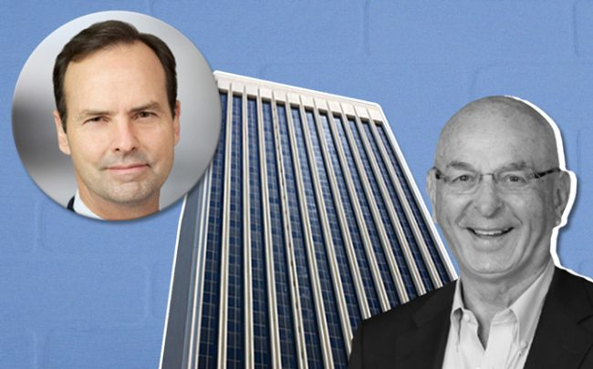 AXA Capital Head of North America Steve McCarthy and Ratkovich CEO Wayne Ratkovich, with 5900 Wilshire Boulevard