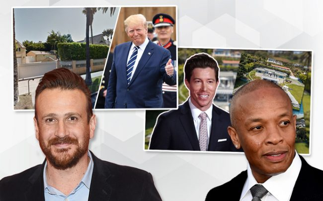 From left: Jason Segel, Donald Trump, Shaun White White, and Dr. Dre (Credit: Getty Images)
