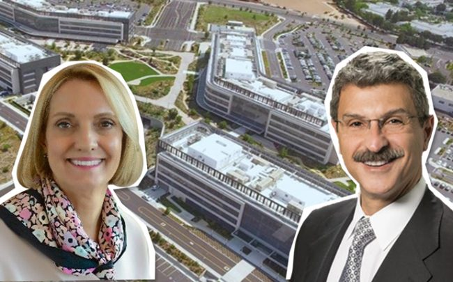 City of Hope President Annette Walker, FivePoint Holdings CEO Emile Haddad, and a rendering of the completed hospital complex