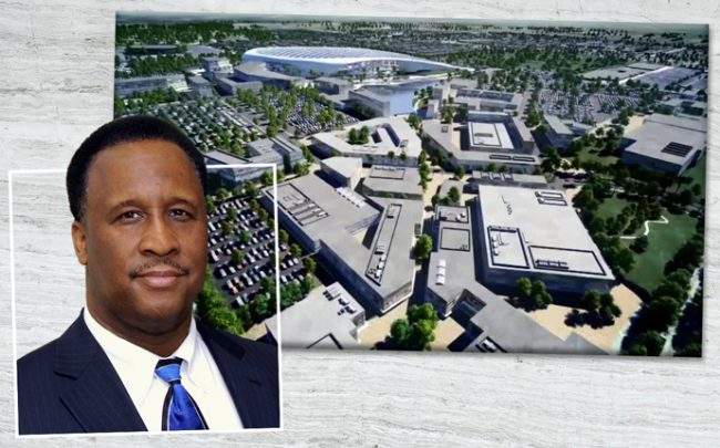Inglewood Mayor James Butts and a rendering of Inglewood