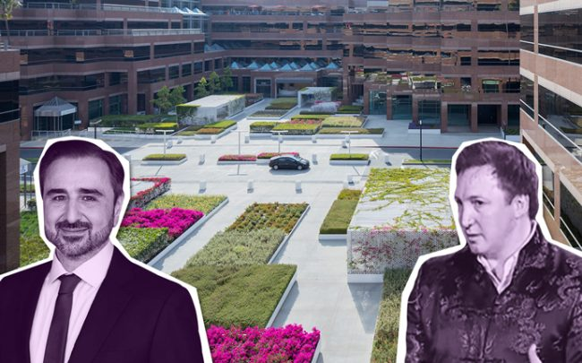 Natixis CEO Francois Riahi, Onni Group President Rossano DeCotiis , and Wilshire Courtyard (Credit: BPCE and Michael Maltzan Architecture)