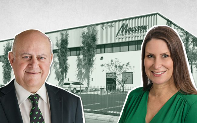 Prologis CEO Hamid Moghadam, NEP's chief strategy officer Carrie Galvin, and the building