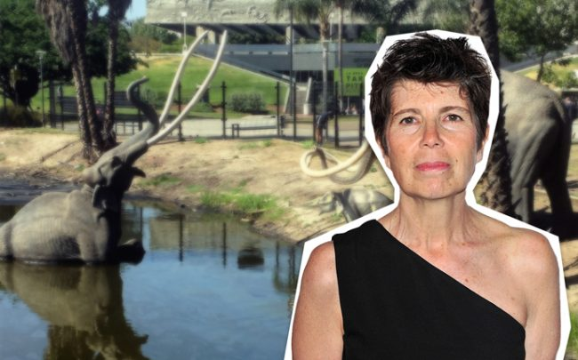 Elizabeth Diller and a tar pit outside George C. Page Museum