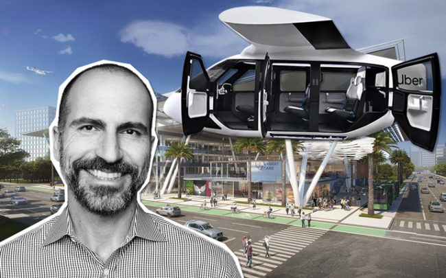 Uber CEO Dara Khosrowshahi, a concept Uber Air taxi and Gensler's skyport design