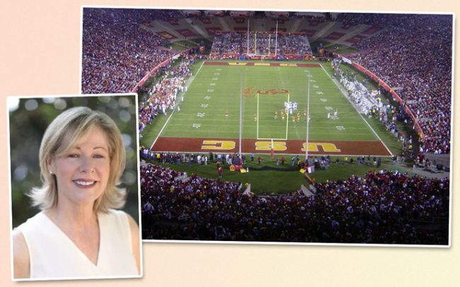 United Airlines California President Janet Lamkin and the LA Coliseum