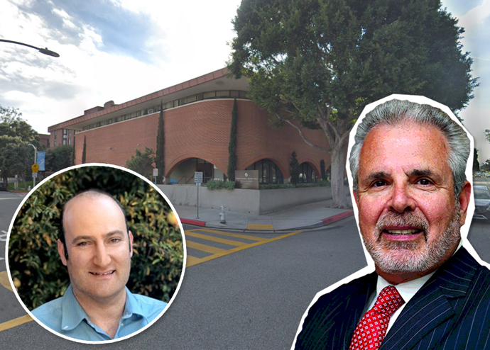 Crescent Heights co-founder Russell Galbut and Temple Emanuel of Beverly Hills Executive Director Matt Davidson, and the property on Burton Way