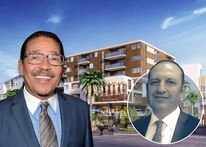 From left: Council President Herb Wesson, Arman Gabay and a new renderings of the District Square