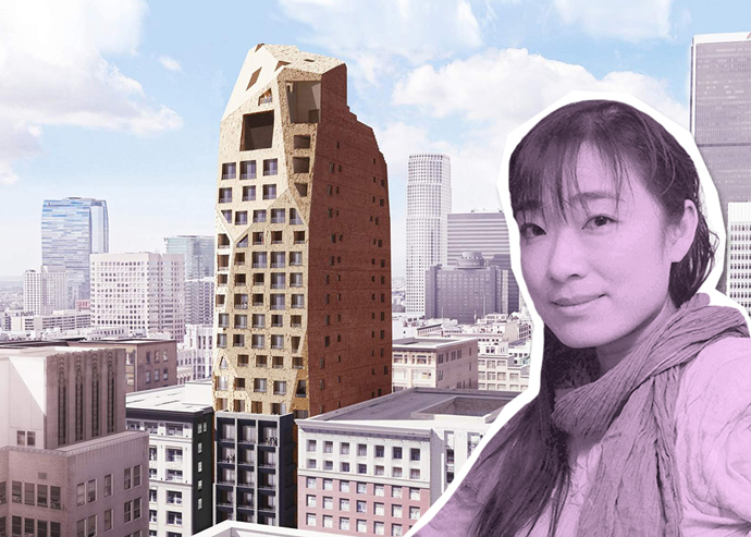 Lizard Capital CEO Bingyi Huang and a rendering of the Spring Street Hotel