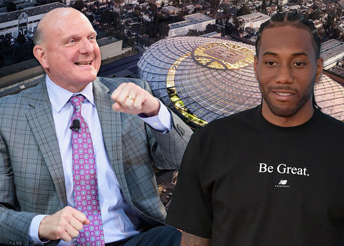 Clippers owner Steve Ballmer, Kawhi Leonard and a rendering of the Clippers Arena Inglewood project (Credit: Getty Images, NBA)
