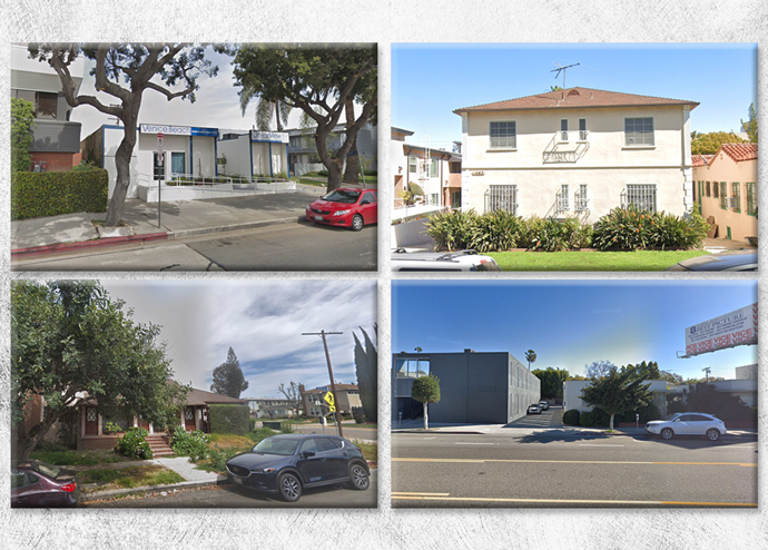 From top left, clockwise: 11961 W. Venice Boulevard, 1462 S. Reeves Street, 2336 S. Westwood Boulevard, and 2968 S. Kelton Avenue