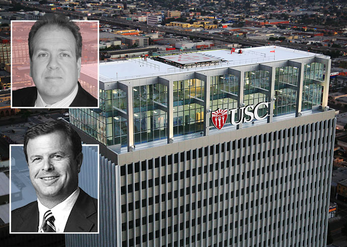 LBA Realty co-founder and principal Phil Belling and LaSalle Investment Management CEO Jeff Jacobson with USC Tower