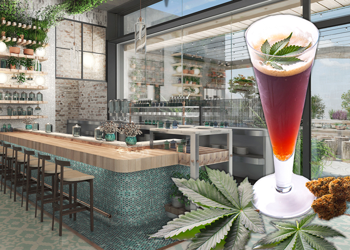 A rendering of Lowell Farms Cannabis Cafe (Credit: Lowell Farms, iStock)