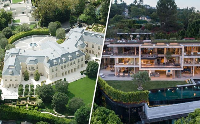 From left: Spelling Manor and Ardie Tavangarian's mega-mansion (Credit: Wikipedia and Hilton & Hyland)