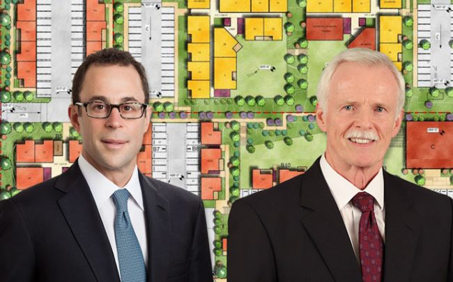 Related CEO Jeff Blau, HACLA CEO Douglas Gouthrie, and a rendering of the project