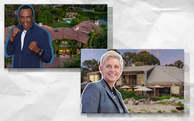 Sugar Ray Leonard and the Pacific Palisades home, and Ellen DeGeneres and the home (Credit: Getty Images)