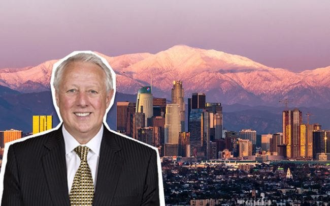 Atlas Hospitality Group president Alan X. Reay and Downtown Los Angeles, with construction development rising above the L.A. Convention Center at the right (Credit: Wikimedia)