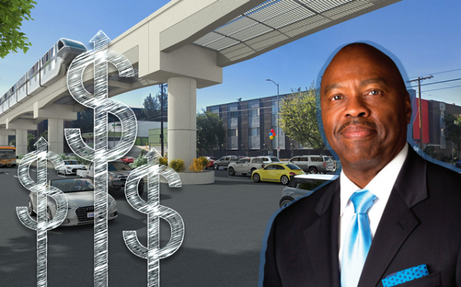 Metro CEO Phillip A. Washington and a rendering of a monorail concept along Sepulveda Boulevard in the San Fernando Valley (credit: Metro)