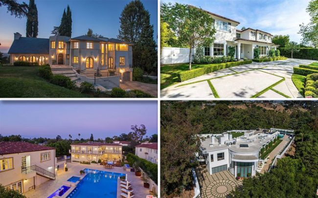 From top left, clockwise: 11400 Sunshine Terrace, 1166 Corsica Drive, 932 Rivas Canyon Road, and 619 S. June Street