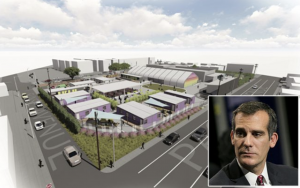 Mayor Eric Garcetti and rendering of proposed temporary shelter in Venice