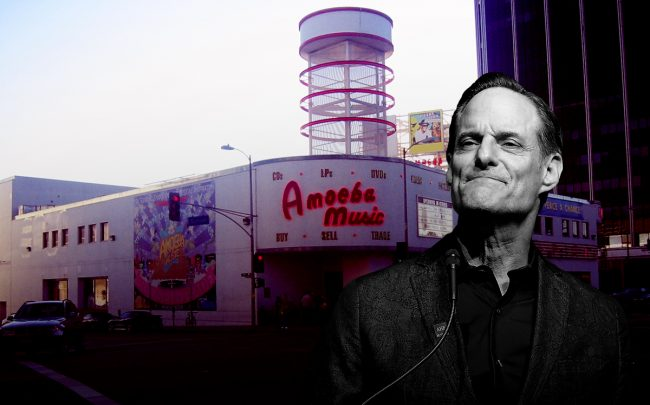 AIDS Healthcare Foundation CEO Michael Weinstein and the Amoeba Music store (Credit: Getty Images and Wikipedia)