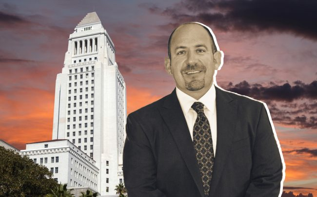 Michael LoGrande with Los Angeles City Hall (Credit: Urban Land Institute and iStock)