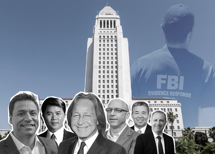 From left: Jose Huizar, Huang Wei, Mohamed Hadid, Robert Herscu, Raymond Chan, and Arman Gabay, with Los Angeles City Hall (Credit: iStock and Getty Images)