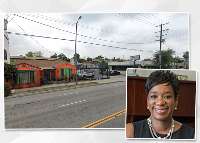 SRO Housing Corporation CEO Anita U. Nelson, the development site, and a rendering of the project