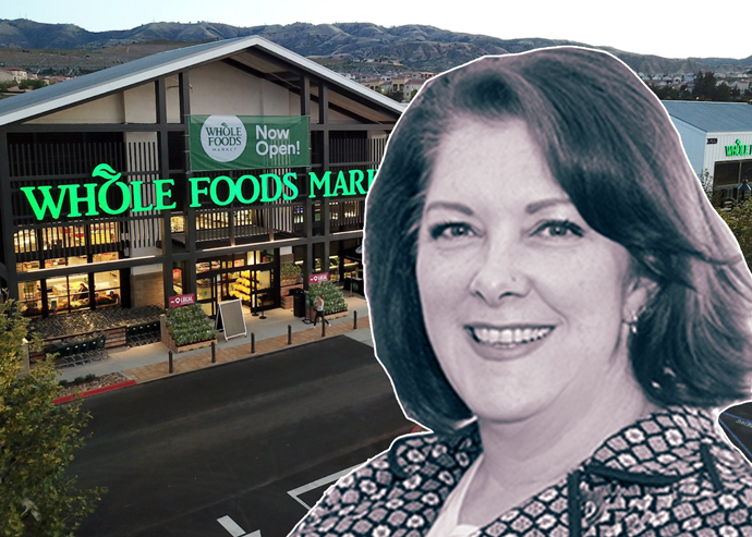 Petra Durnin, CBRE's director of research for the Pacific southwest, and the Whole Foods grocery store that opened at the Vineyards at Porter Ranch (Credit: CBRE)