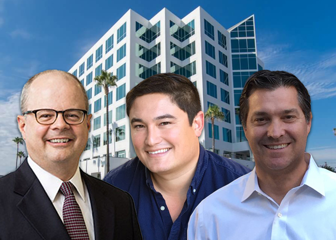 Academy Tower and from left, Rockwood Capital co-founder and managing partner Walter Schmidt, Artisan Realty Partners Mark Laderman and Colin Komae