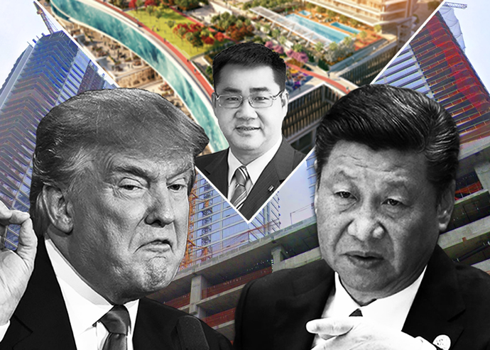 Donald Trump, Xi Jinping and (center) Oceanwide CEO Thomas Feng pictured with a photo of Oceanwide Plaza under construction and a rendering of the project (Credit: Getty Images, Google Maps)
