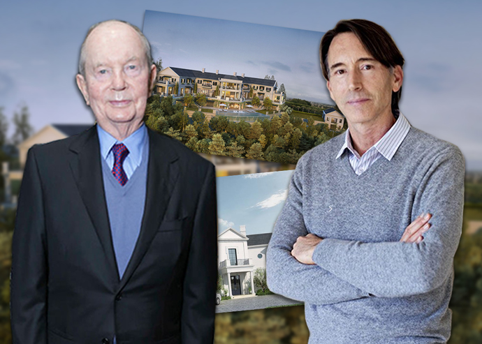 From left: Jerry Perenchio, architect William Hefner and renderings of the property (Credit: Getty Images, Redfin)