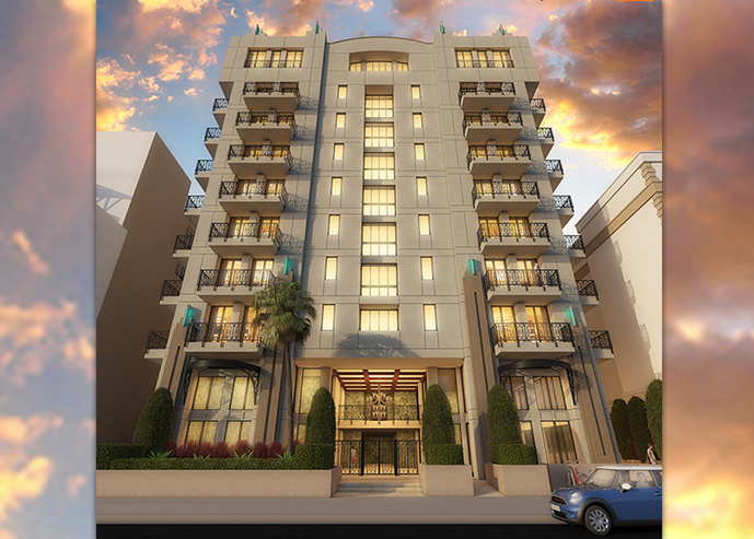 A rendering of the proposed hotel project on Whitley Street (Credit: Daryoush Safai)