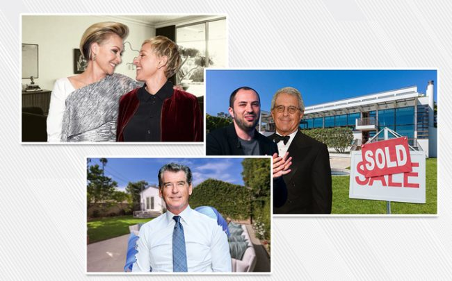 From top: Ellen DeGeneres and Portia de Rossi, Jan Koum and Ron Meyer, and Pierce Brosnan with his new home in Santa Monica (Credit: Getty Images)