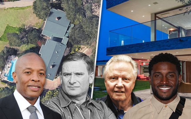 From left: Dr. Dre, Vadim Shulman, Jon Voight and Reggie Bush withan aerial of Jon Voight's home and a photo of Reggie Bush's home (Credit: iStock)
