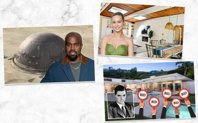Kanye West (left), Bri Larson and her home (top), and Home on Haynes Avenue and Howard Hughes (bottom) (Credit; Getty Images, Britannica and iStock)