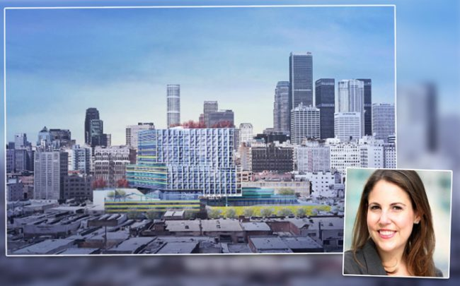 Los Angeles City Planning Commission President Samantha Millman and a rendering of the Flower Market project (credit: Brooks + Scarpa and Twitter)