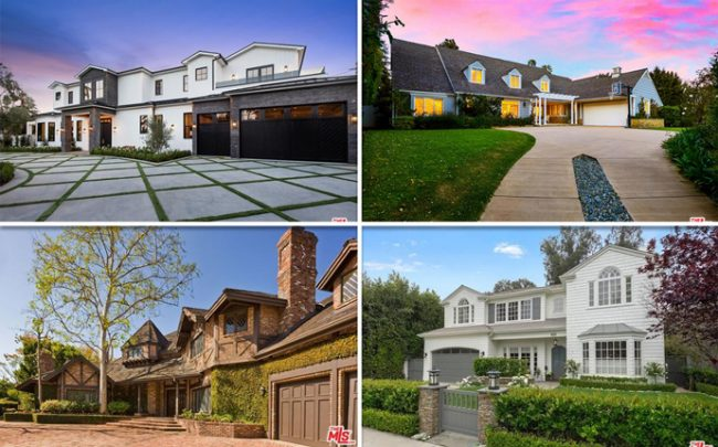 From top left, clockwise: 4729 Noeline Avenue, 13565 D Este Drive, 11601 Moraga Lane, and 825 Alma Real Drive.