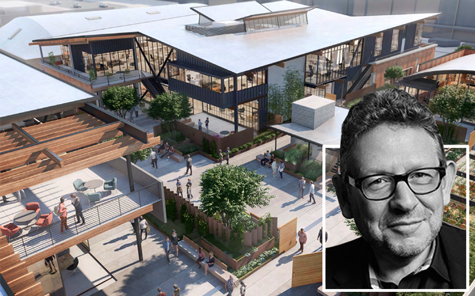 Universal Music Group CEO Lucian Grainge and a rendering of Colorado Campus Building B