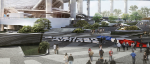 A rendering of the plaza that American Airlines has purchased naming rights for (Credit: LASED)