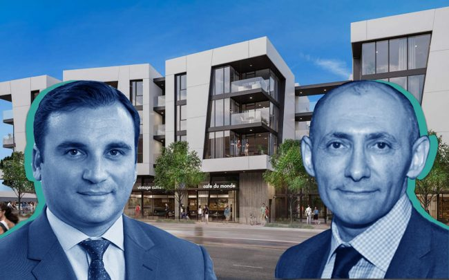 Lightstone's Eugene Rozovsky, Neil Shekhter and a rendering of 1650 Lincoln Boulevard