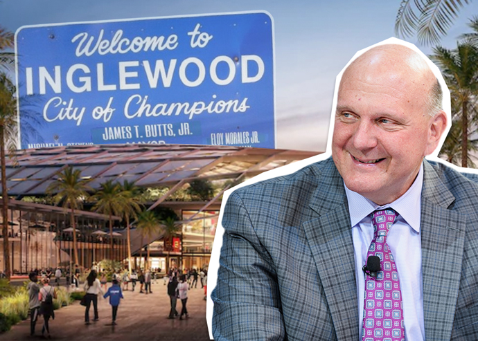 Steve Ballmer and a rendering of the new Clippers Arena (Credit: Getty Images, Los Angeles Clippers, and Twitter)
