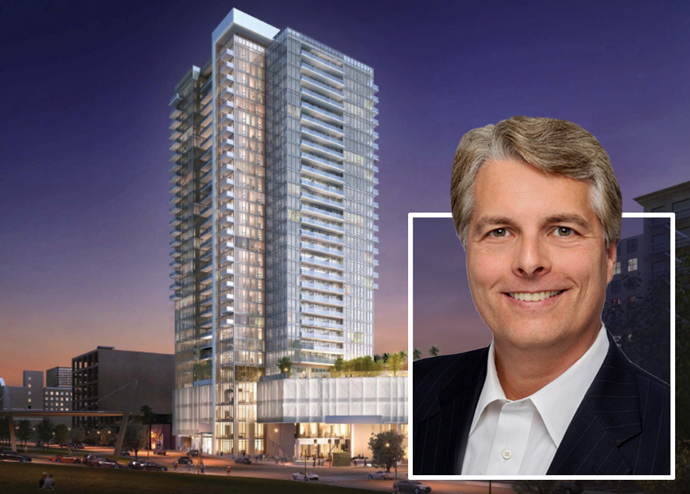 Equity Residential CEO Mark Parrell and a rendering of the 4th and Hill tower