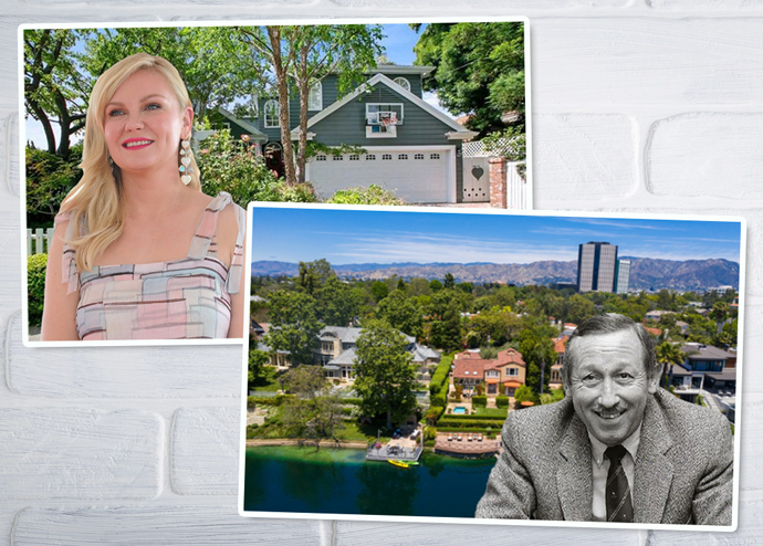 From left: Kristen Dunst and her former home on Toluca Lake Road, and Roy E. Disney and the home in Toluca Lake (Credit: Getty Images and Redfin)