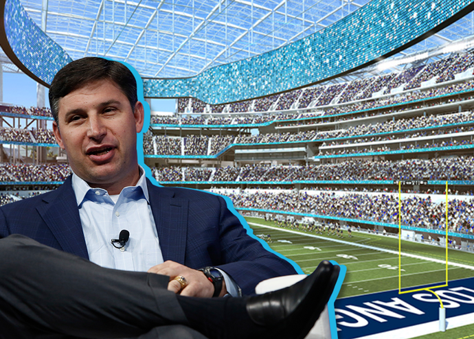 SoFi CEO Anthony Noto and a rendering of SoFi Stadium