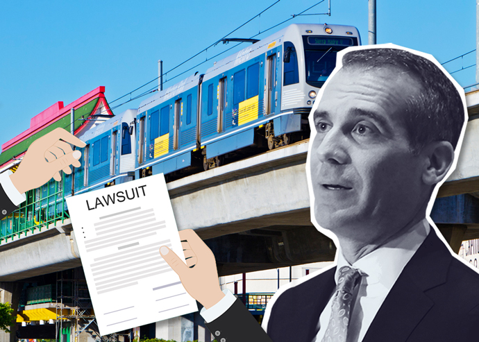 LA Mayor Eric Garcetti and the Metro Gold Line (credit: Global Climate Action Summit via Flickr)