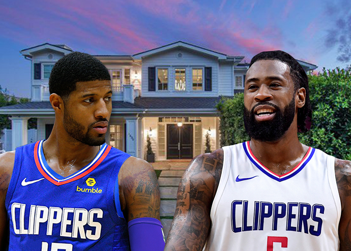 The home on Amalfi Drive, Paul George, and Deandre Jordan (Credit: Getty Images and Realtor)