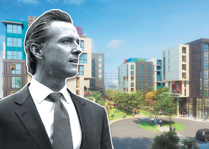 Governor Gavin Newsom and a rendering of Enlightenment Plaza
