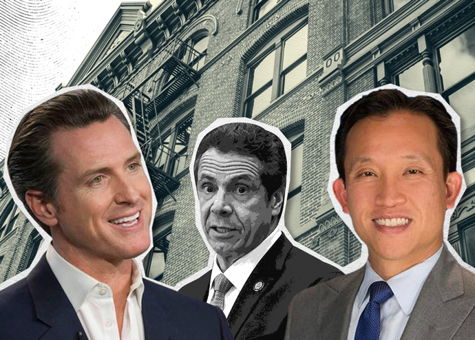 From left: California Governor Gavin Newsom, Governor of New York Andrew Cuomo, and California Assembly Member David Chiu (Credit: Getty Images, iStock, and Wikipedia)