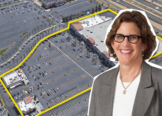 Marianne Lowenthal and an aerial view of the shopping center (Credit: Google Maps)