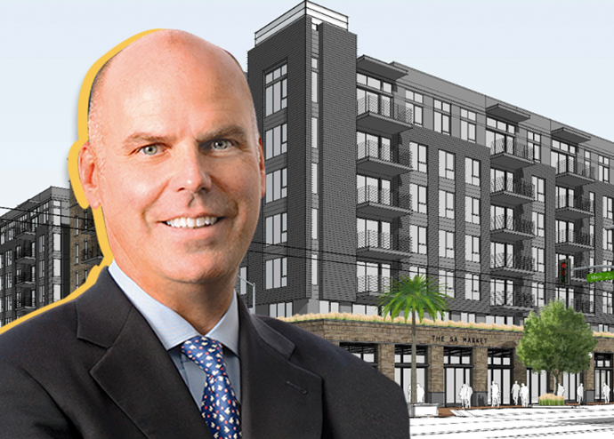 Toll Brothers CEO Douglas Yearley Jr. and a rendering of 4th + Main